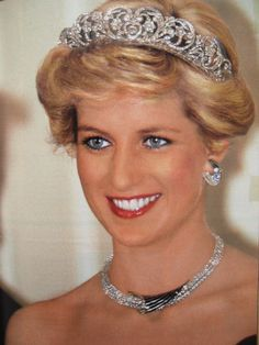 This diamond necklace and crescent-shaped diamond earrings were given to Diana by the Sultan of Oman during the royal couple's visit to Oman in November 1986