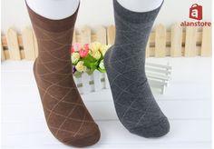 Men's Crew Socks, Middle Length, Pure Cotton, Argyle Print Socks