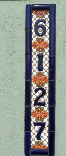 Talavera-Mexican-Pottery-Clay-house-number-address-3-X-6-hi-relief-cobalt-4