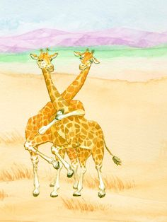 Cards Animal Love African Giraffes Dancing Safari by FreehandCards
