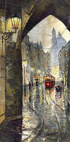 Prague Mostecka Street Old Tram