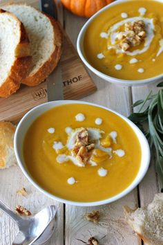 Roasted Butternut Squash and Sage Soup - Roasted winter squash is blended with fresh sage for a smooth, elegant smooth lightened up with Gre...