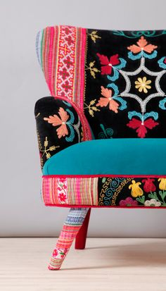 Suzani armchair turquoise sky by namedesignstudio on Etsy