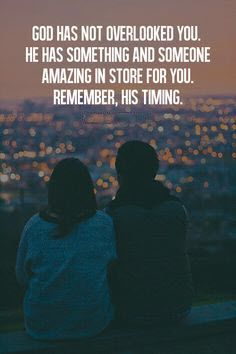 God has not overlooked you. He has something and someone amazing in store for you. Remember, His timing. #cdff #onlinedating #christiandating #christianquotes #christianinspiration