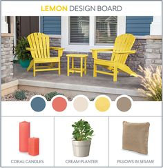 Colorful outdoor beach-inspired style and accessorizing Lemon Adirondacks #polywood