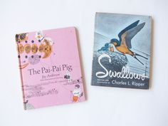 Swallows and The Pai Pai Pig . vintage childrens book set by DOTTO