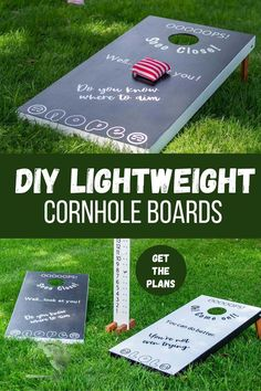 How to build easy DIY cornhole boards that are lightweight. These custom bean bag toss game is really easy to build! #anikasdiylife