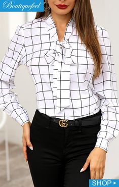 Grid Tied Neck Long Sleeve Blouse We Miss Moda is a leading Women's Clothing Store. Offering the newest Fashion and Trending Styles. Black Leather Mini Skirt, Chiffon, Batik, Blouse Styles, Blouse Designs, Pattern Fashion, Shirt Blouses, Blouses For Women, Girly
