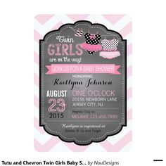 Tutu and Chevron Twin Girls Baby Shower 5x7 Paper Invitation Card