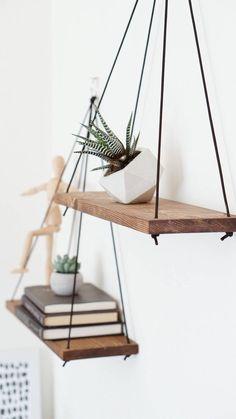Hanging Shelves / Set of 2 Large Shelves / Floating Shelves / Swing Shelves - Handmade in Los Angeles, CA // Listing is for 2 Hanging Shelves These hanging wooden shelves are j -