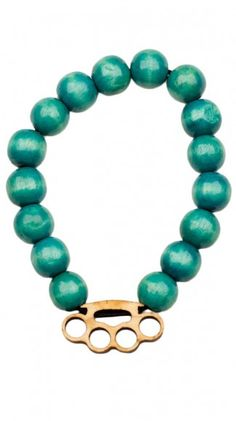 Embedded Brass Knuckles 12mm Charm Bracelet- Teal by Grain Accessories