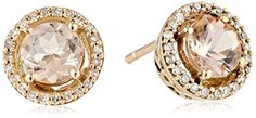 10k Rose Gold Morganite Center and Diamond (1/10cttw, I-J Color, I2-I3 Clarity) Halo Stud Earrings Amazon Curated Collection http://smile.amazon.com/dp/B00NW6VT9A/ref=cm_sw_r_pi_dp_A034ub0P2X50N