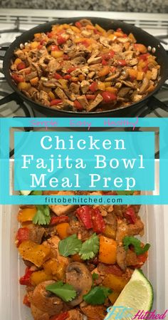 Easy to make chicken fajita bowls to use as a meal prep for the week. Simple, healthy and can subsitute califlower rice for regular rice if you are trying to stay low carb