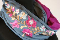 Items similar to Woman infinity scarf - circle scarf - loop scarf - hand embroidered - matyo - multicolored - pink blue - made to order on Etsy Loop Scarf, Circle Scarf, Infinity Scarfs, Womens Scarves, Sunglasses Case, Suit, Woman, Trending Outfits, Unique Jewelry