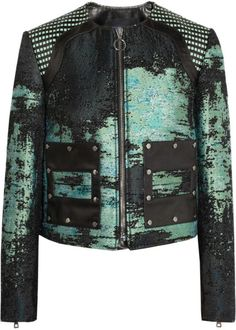 Green Leather trim Bouclé Jacket