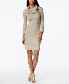 Calvin Klein Textured Cowl-Neck Sweater Dress - Dresses - Women - Macy's