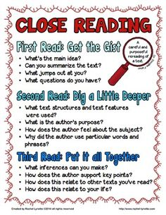 Reading Freebie Looking+for+close+reading+passages?++Try+the+close+reading+section+of+my+TpT+Store. Rachel+LynetteThis+freebie+includes+a+close+reading+. Reading Lessons, Reading Resources, Teaching Reading, Guided Reading, Teaching Ideas, Reading Activities, Reading Skills, Math Lessons, Reading Classes
