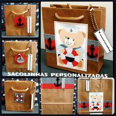Sacolinhas personalizadas para Lembrancinhas.    Tema Marinheiro: Menino, Menina, Ursinho, Cachorro e Pirata.