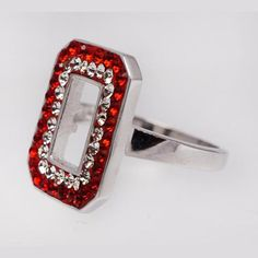 Sterling Silver & Swarovski Crystals Block O Ring