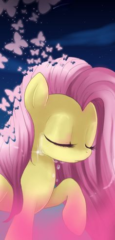 Fluttershy from My Little Pony. So pretty and sad.