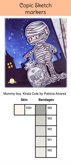 Copic color combination for a mummy. #kindacutebypatricia #digitalstamps #copicsketchmarkers