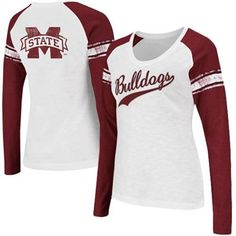Mississippi State Bulldogs Ladies Sycamore Raglan Long Sleeve T-Shirt -  White Maroon 73ce11e7d