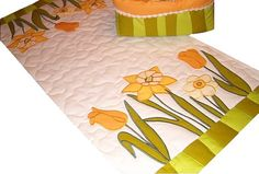 Quilted Table Runner  Easter  yellow white by Customquiltsbyeva.