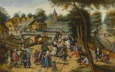 Sir Lawrence Alma-Tadema on Pieter Brueghel the Younger BRUSSELS 1564 - 1637/8 ANTWERP RETURN FROM THE KERMESSE signed lower left: P. BREVGHEL oil on oak panel 50 x 79 cm.; 19 5/8  by 31 1/8  in. LOT SOLD. 2,577,500 GBP Sotheby's. Sir Lawrence Alma-Tadema, The Finding of Moses, 1904,  The Vintage Festival, 1870 https://www.wikiart.org/en/sir-lawrence-alma-tadema/the-vintage-festival-1870