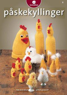 Gratis oppskrift. Påskekyllinger #strikk Hens, Easter Crafts, Needlework, Knit Crochet, Knitting, Christmas, Blog, Holidays, Crocheting