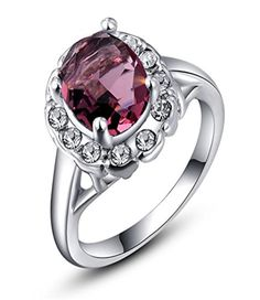 Celebrity Jewelry 4 Claw Set Purple Red Swarovski Elements Crystal White Gold Ring Women Size 8 - Brought to you by Avarsha.com