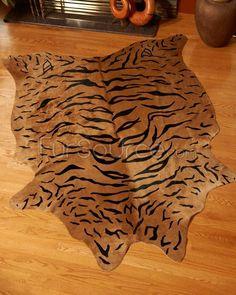 Cow Hide Rug - Tiger Print