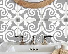 tegel stickers vinyl decal waterdichte verwisselbare voor bad keukenvloer of trap b173g grijs wit - Tijdelijke Backsplash