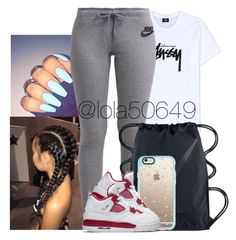 """""""Heard you was a lame boy, get up out my face✋"""" by lola50649 ❤ liked on Polyvore featuring Stussy, NIKE and Casetify"""