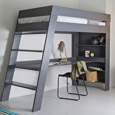 Woood Furniture - Easy to Assemble Luxury Furniture - Ultra stylish and contemporary, the Julien Kids Loft Bed with Desk in Grey is a great piece of furn - Loft Bed Desk, Bunk Bed With Desk, Bunk Beds With Stairs, Cool Bunk Beds, Kids Bunk Beds, Bedroom Loft, Diy Bedroom, Bedroom Apartment, Bedroom Kids
