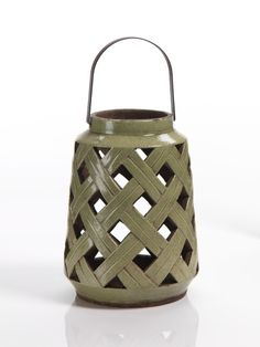 """Luminaire Ceramic Lantern with Metal Handle - Colors: White, Green (select color from dropdown below) - Dimensions: 7"""" x 9.5"""""""