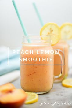 Healthy smoothie recipes and easy ideas perfect for breakfast, energy. Low calorie and high protein recipes for weightloss and to lose weight. Simple homemade recipe ideas that kids love.  |  Peach Lemon Smoothie  |  http://diyjoy.com/healthy-smoothie-recipes