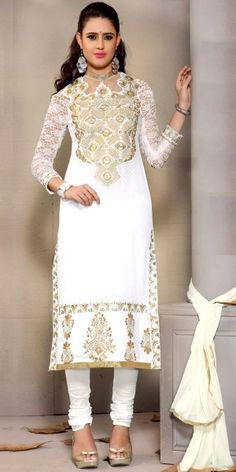 Lavishing White Cotton Straight Salwar Suit With Chiffon Dupatta.