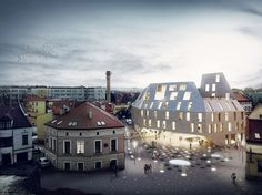 Bakpak Architects and EovaStudio have won a competition to design a multifunctional building in Rzeszow, Poland. The design—called The Pottery. Architectural Design Studio, 3d Architectural Visualization, Architecture Visualization, Architectural Presentation, Win Competitions, Design Competitions, Architecture Images, Interior Architecture, London Metropolitan University
