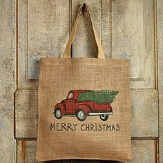 New Country Farmhouse Rustic VINTAGE RED TRUCK MERRY CHRISTMAS Burlap Tote Bag #CountryHouse Merry Chistmas, Christmas, Earthbound Trading Company, Vintage Red Truck, Burlap Tote, Farm Trucks, Reusable Grocery Bags, Market Bag, Cotton Bag