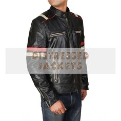 If you are also a leather jacket lover then buying motorcycle red stripe biker leather jacket this season motorcycle red stripe biker leather jacket this season is a must for you. Distressed Leather Jacket, Men's Leather Jacket, Biker Leather, Leather Men, Leather Fashion, Men's Fashion, Black Leather, Fashion Trends, Cafe Racer Leather Jacket
