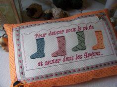 "A&B 69 ""Sous la pluie"" Points, Blog, Cross Stitch, Blanket, Crochet, Patchwork Fabric, Bergamot Orange, In The Rain, Crosses"