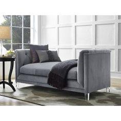 Grey Velvet Loveseat Bench Acrylic Legs