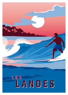 Affiche Les landes, surfeur - Book Illustration Posters for Sale: Prints, Paintings & Wall Art . Surf Vintage, Retro Surf, Art Deco Posters, Poster Prints, Poster Surf, Surf Posters, Tourism Poster, Surf Art, Vintage Travel Posters