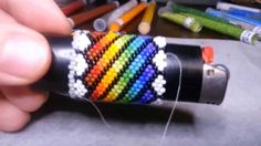 Beading:  Lighter Cover Freestyle Repeating Design & Execution.  2-drop Peyote.
