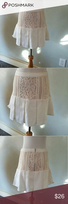 SALE! White lace detail skirt White skirt with lace detail and a Baige lining 96% cotton 4% spandex  **6bin (storage note to self) Chupchick  Skirts Midi