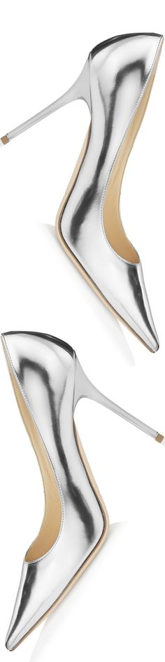 "Jimmy Choo ""Abel"" Silver Mirror Leather Pointy Toe Pumps 