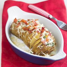 Hasselback Potatoes with Bacon, Gruyere, Creme Fraiche and Thyme.