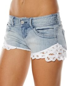 DIY! Buy a cheap pair of jeans at Salvation army, cut off to shorts, and sew lace on for some style!