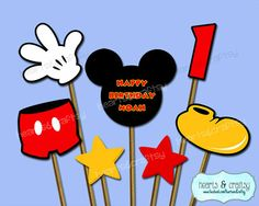 PERSONALIZED Mickey Mouse Centerpiece Cutouts / Mickey Cake Topper by HeartsandCraftsy