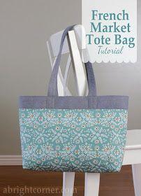 Bag patron French Market Tote Bag Tutorial French Market Tote Bag tutorial from A Bright Corner Bag Pattern Free, Bag Patterns To Sew, Tote Pattern, Sewing Patterns Free, Free Sewing, Sewing Tutorials, Sewing Crafts, Sewing Projects, Tote Bag Tutorials